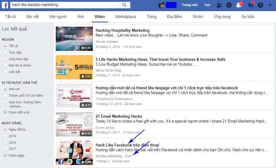 Seo video Facebook